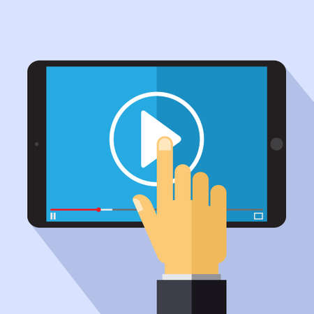 video marketing: Vector video marketing concept in flat style - video player on the screen of tablet pc - infographics design element