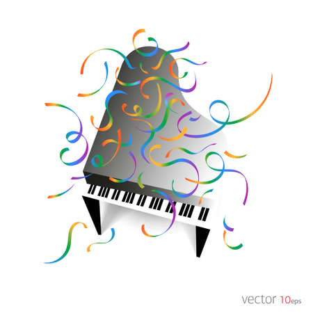 Music poster - Piano with confetti / Music Background.