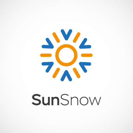 cold fusion: Hot and cold symbol. Sun and snowflake all season concept Illustration