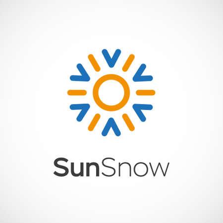 Warme en koude symbool. Zon en sneeuwvlok hele seizoen begrip