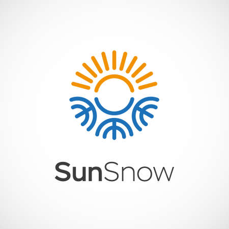 cold fusion: Hot and cold symbol. Sun and snowflake all season concept .