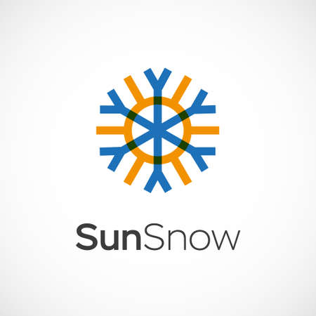 all weather: Hot and cold symbol. Sun and snowflake all season concept .
