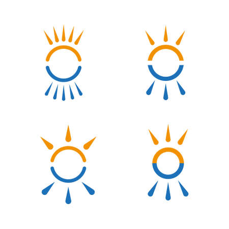cold fusion: Hot and cold symbol set. Sun and snowflake all season concept .
