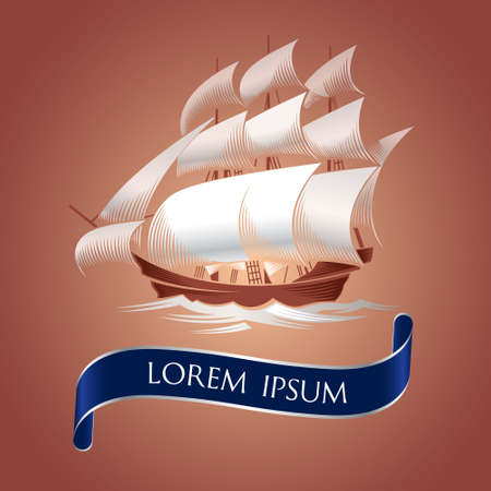 galley: Sailing ship. Old vessel illustration on brown background Illustration