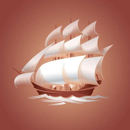galley: Old vessel. Sailing ship illustration on brown background