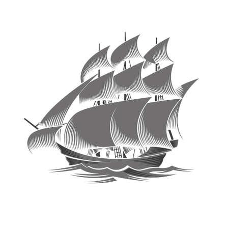 vessel: Sailing ship. Vintage vessel. White silhouette on black background.
