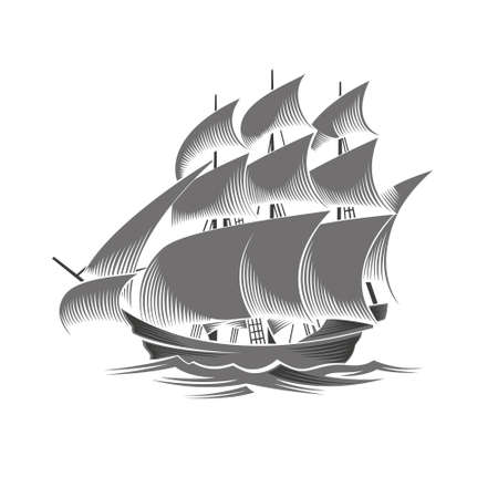 Sailing ship. Vintage vessel. White silhouette on black background.