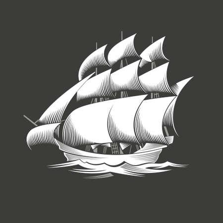frigate: Sailing ship. Vintage vessel. White silhouette on black background.