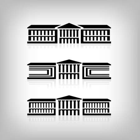 Set of 3 logos of buildings with columns. Vector Eps 10 矢量图像