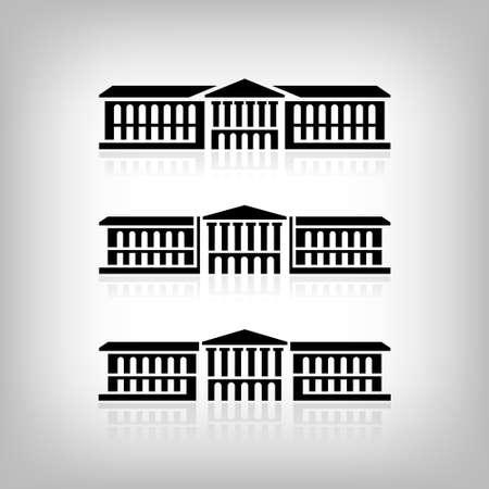 derecho romano: Conjunto de 3 de edificios con columnas. Vectores