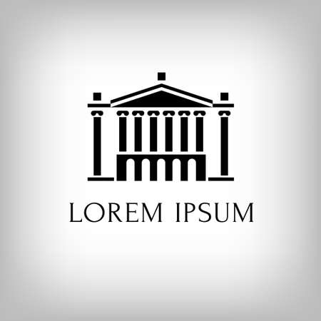 ancient roman: Logo building with columns. Theatre or museum or bank or academy.