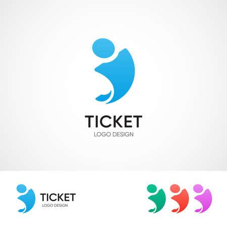 Ticket center logo concept - vector embleem sjabloon voor reisbureau. Verschillende kleurvariaties. EPS 10
