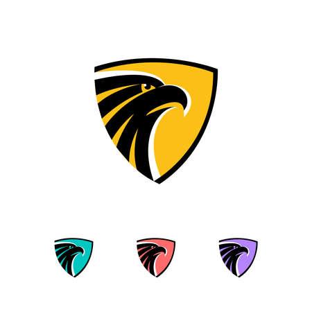 eagle flying: Eagle head in a shield logo concept - vector illustration. Emblem design on a white and dark background. EPS 10