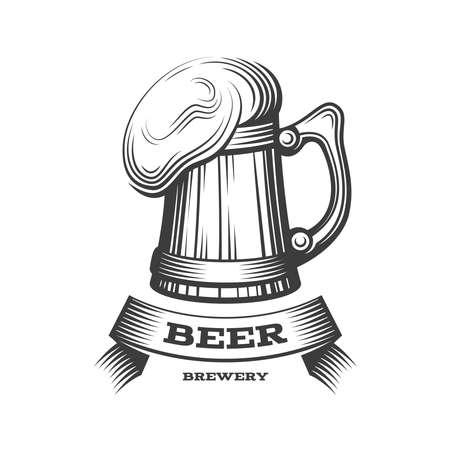 Wooden beer mug logo - vector illustration, emblem brewery design on dark background. EPS 10 Illustration