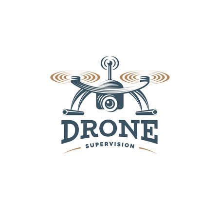 Drone quadrocopter logo design template, emblem on white background EPS 10