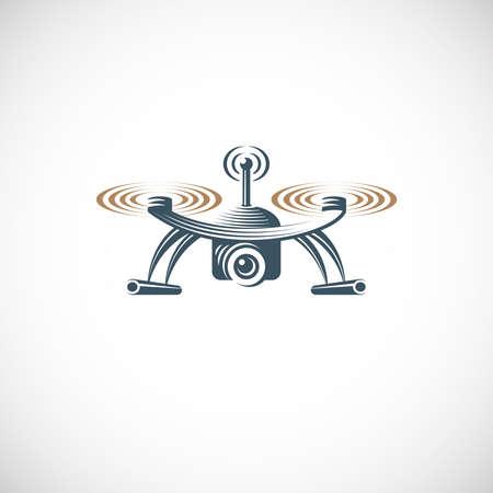 Drone quadrocopter logo design template, emblem on white background EPS 10