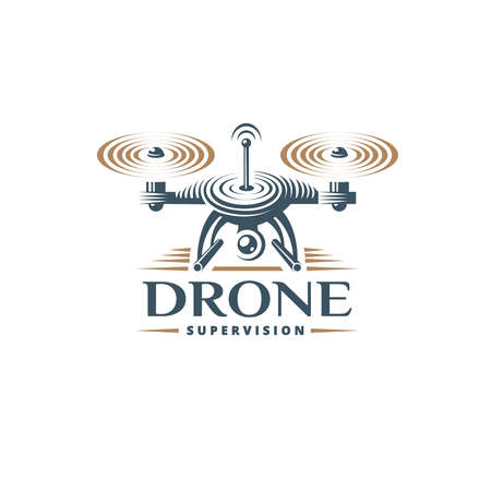 Drone quadrocopter logo design template, emblem on white background 矢量图像