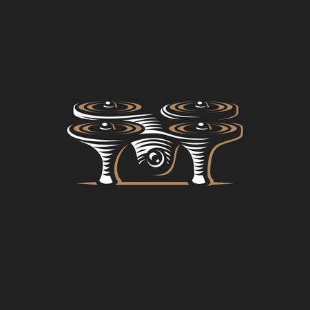 Drone quadrocopter logo design template, emblem on dark background EPS 10 Illustration