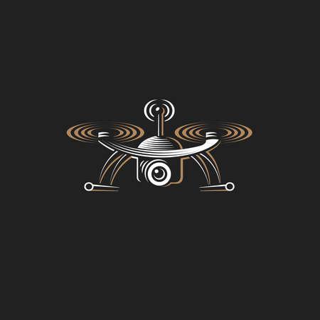 Drone quadrocopter logo design template, emblem on dark background