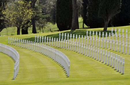 Alignment of tombs in the American cemetry of Florence, Italy photo