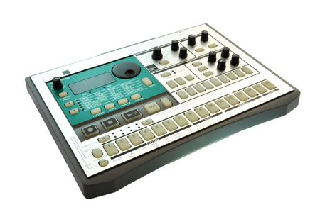 a rythm production sampler  on a white background photo