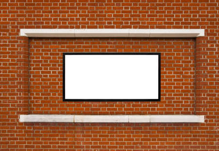Brick wall with white framed copy space Stock Photo - 9487590