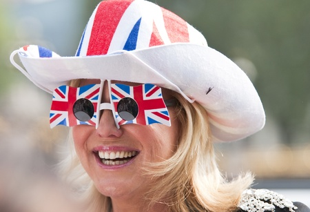 London, England - April 28, 2011 - One day before the royal wedding, a woman specially dressed for this event