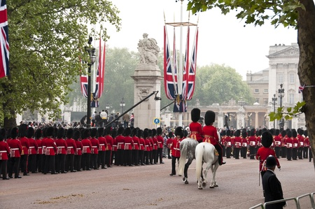 middleton: London, England - April 29, 2011 - The Royal Guards on the Mall at Prince William and Kate Middleton wedding Editorial