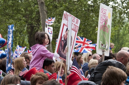 middleton: London, England - April 29, 2011 - The crowd holding boards at the royal wedding Editorial