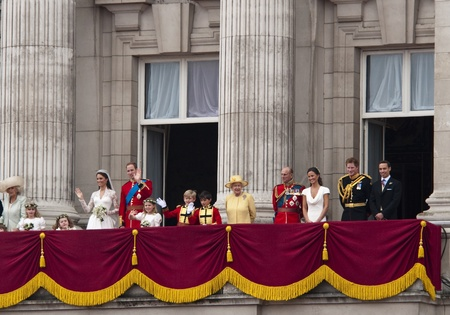 London, England - April 29, 2011 - The royal family appears on Buckingham Palace balcony Editorial