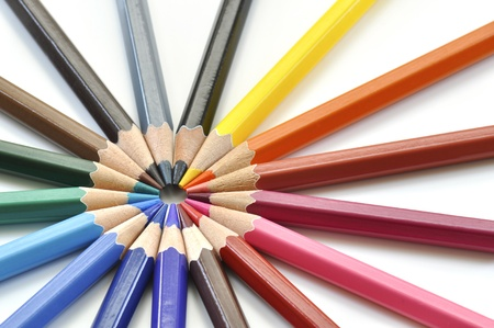 Color pencils on a white background Stock Photo - 9565307