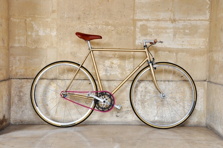 fixed: Vintage fixed gear bicycle with a pink chain