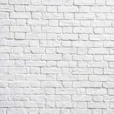 white wall texture: White brick wall, perfect as a background, square photograph