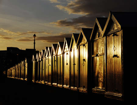 seafronts: Beach huts on Brighton and Hove seafront, England