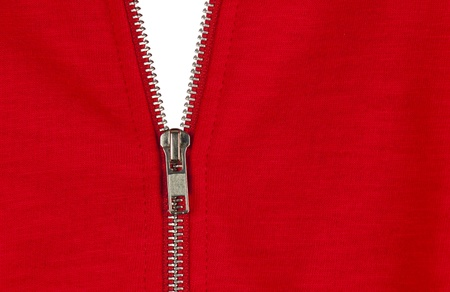 Zip of a red cotton sweater, white background