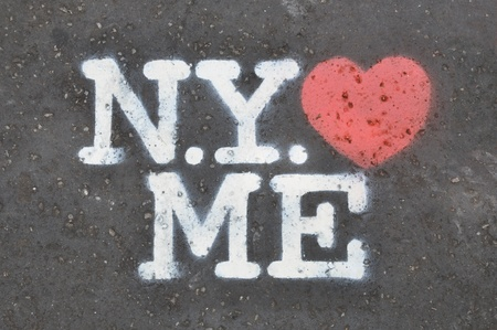 loves: New York loves me stencil on the pavement
