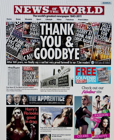 LONDON - JULY 10: Last edition of the famous tabloid News of the World after the scandal of telephone hacking by the newspaper on July 10, 2011 in London. News of the World was on sale since 1843. Stock Photo - 9890503