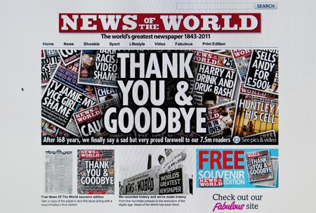scandal: LONDON - JULY 10: Last edition of the famous tabloid News of the World after the scandal of telephone hacking by the newspaper on July 10, 2011 in London. News of the World was on sale since 1843. Editorial