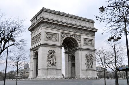 triomphe: The Arc de Triomphe a sunday morning in winter, Paris, France Stock Photo