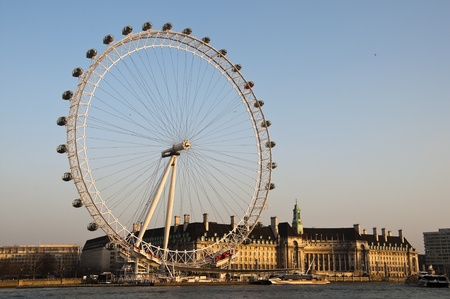 The London Eye at sunset, London, UK Editorial