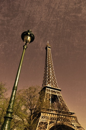 lamp post: The Eiffel Tower in Paris, retro photography Stock Photo