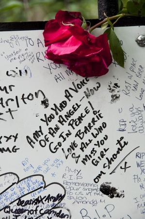 tribute: LONDON - JULY 27: Her fans pay tribute to Amy Winehouse in front of her house on Camden square, on July 27, 2011 in London. Amy Winehouse died aged 27 on Saturday, July 23. Editorial