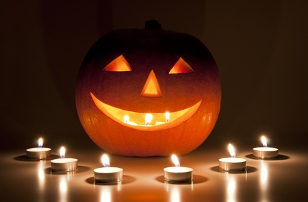 pumpkin carving: Halloween lantern and candles