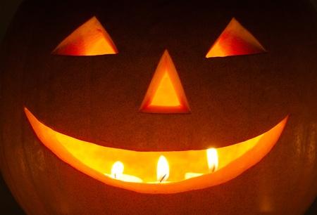 Closeup of a Halloween lantern in the night Stock Photo - 10091212