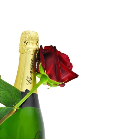 Champagne and a red rose, romantic concept photo