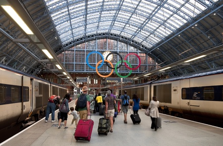 LONDON - AUGUST 16: The Olympic rings at St Pancras International Rail Station on August 16, 2011. The Olympic rings greet passengers in preparation for the London 2012 Olympic Games.