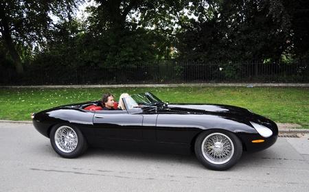LONDON - SEPTEMBER 04: A modernized version of the Jaguar E-Type at Chelsea AutoLegends, on September 04, 2011 in London. The Jaguar E-Type celebrates its 50th birthday in 2011.