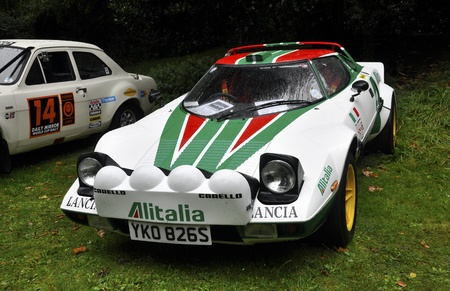 hf: LONDON - SEPTEMBER 04: A Lancia Stratos HF at Chelsea AutoLegends, on September 04, 2011 in London. The Lancia Stratos  won the World Rally Championship in 1974, 1975 and 1976. Editorial