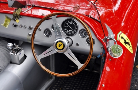 LONDON - SEPTEMBER 04: A vintage Ferrari at Chelsea AutoLegends, on September 04, 2011 in London. Ferrari was founded by Enzo Ferrari in 1929. Stock Photo - 10636372