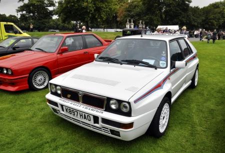 hf: LONDON - SEPTEMBER 04: A Lancia Delta HF Integrale Evoluzione II at Chelsea AutoLegends, on September 04, 2011 in London. The Evoluzione II was presented was presented in June 1993. Editorial